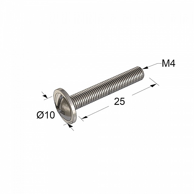 FURNITURE HANDLE MACHINE SCREWS M4x25 / NICKEL